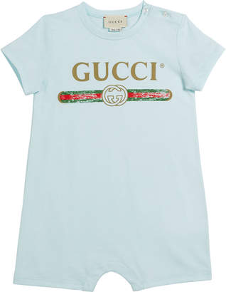 Gucci Vintage-Inspired Logo Shortall, Size 3-24 Months