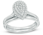 Zales 1/4 CT. T.W. Composite Diamond Pear-Shaped Frame Bridal Set in Sterling Silver