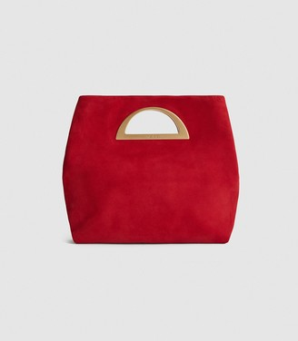 Reiss BELGRAVIA SUEDE FOLD OVER CLUTCH BAG Red