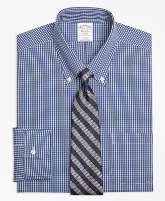 Brooks Brothers Stretch Regent Fitted Dress Shirt, Non-Iron Ground Check