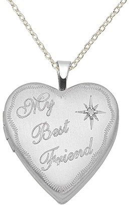 Sterling Silver Rhodium-plated 20mm Best Friend Diamond Heart Locket with 18-inch Cable Chain by Versil