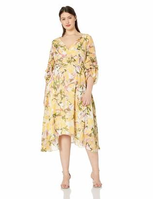 Gabby Skye Women's Plus Size Elbow Sleeve V Neck Midi A-Line Dress
