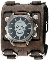 Nemesis 'Skull Head Series' Quartz Stainless Steel and Leather Automatic Watch, Color:Black (Model: FWB935K)