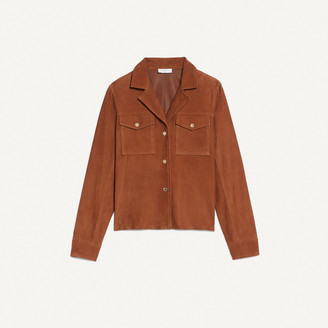 Sandro Suede jacket with gold-tone press studs