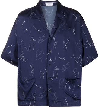 Body Print Satin Shirt