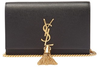 Saint Laurent Kate Tasselled Grained-leather Cross-body Bag - Black