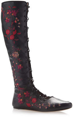 Etro Black Floral Embroidered Leather Flat Front Lace Boots