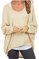 Uget Women's Casual Oversized Baggy Off-Shoulder Shirts Pullover Tops Asia S