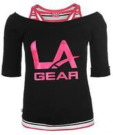 L.A. Gear Womens Mock Layer Tee Shirt Top Blouse Short Sleeve Summer Casual