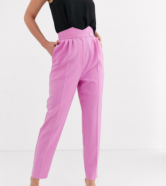 Asos Tall ASOS DESIGN Tall high waist tapered trousers with button detail