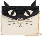 Betsey Johnson Cat Faux-Leather Clutch Bag, Cream