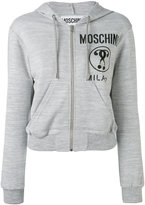 Moschino cropped logo hooded top - women - Polyester/Viscose - 40
