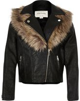 River Island Girls black faux fur collar biker jacket