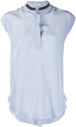 Brunello Cucinelli Metal Detail Sleeveless Blouse