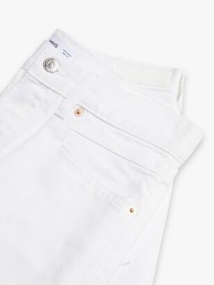 MANGO Rachel Frayed Hem Mini Denim Skirt