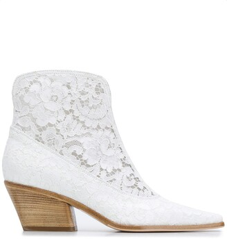 Le Silla Pointed Floral Lace Boots