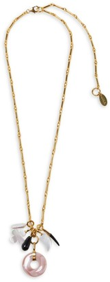 Lizzie Fortunato Gia 18K Goldplated & Multi-Stone Charm Pendant Necklace