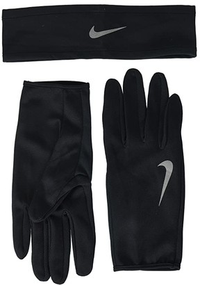 Nike Run Dry Headband and Gloves Set (Black/Anthracite/Silver) Athletic Sports Equipment