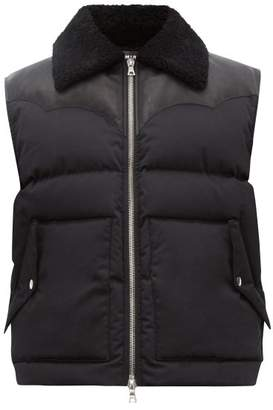 Amiri Shearling And Leather-trimmed Cotton Gilet - Mens - Black