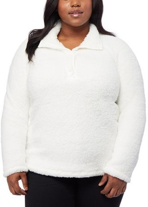 360air 360Air Women's Plus Size Athleisure Half Button Down Sherpa Pull Over