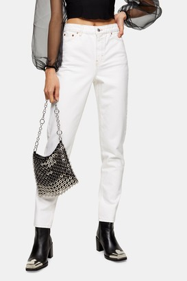 Topshop White Mom Tapered Jeans