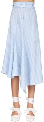 J.W.Anderson Asymmetric Striped Poplin Skirt