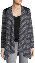 Grayse Faux-Leather Trim Drape Cardigan