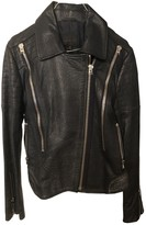 Hotel Particulier Blue Leather Leather Jacket for Women