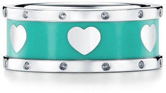 Tiffany & Co. Return to TiffanyTM Love narrow heart ring in sterling silver with enamel finish