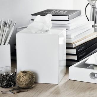 The White Company Lacquer Tissue Box Cover, White, One Size