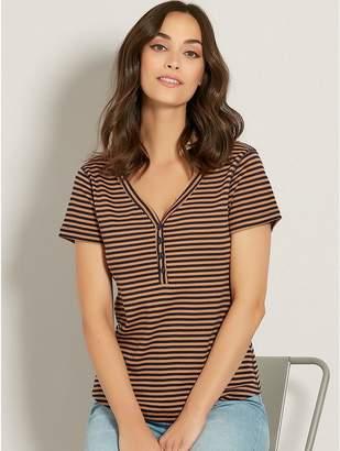 M&Co Stripe button front t-shirt