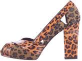 Fendi Leopard Peep-Toe Pumps
