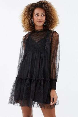 Coast Polka Dot Mesh Shirred Smock Dress