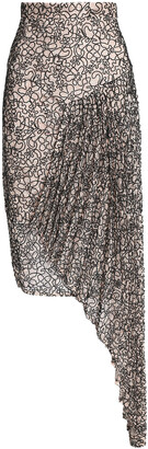 Milly Asymmetric Embroidered Lace Skirt