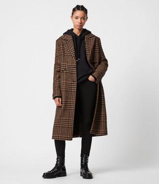 AllSaints Jette Wool Blend Check Coat