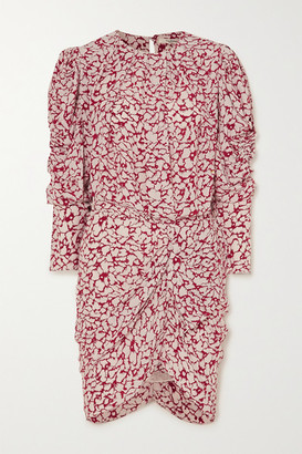 Etoile Isabel Marant Selwyn Ruched Printed Crepe De Chine Mini Dress - Red