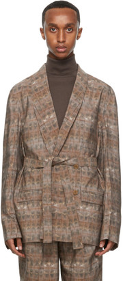 Lemaire Pink Silk Brick Print Double-Breasted Belted Blazer