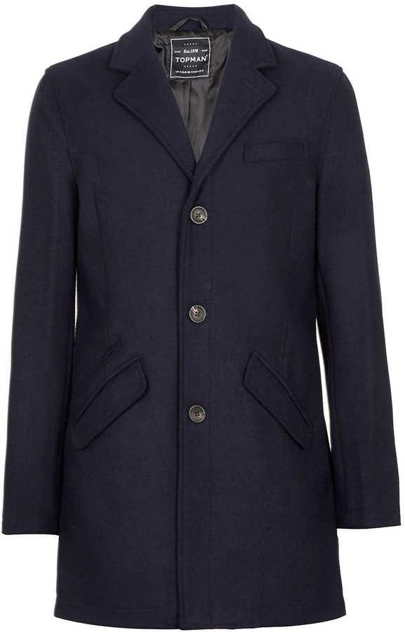 Topman Navy Crombie Coat