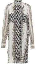 Joie Talma Snake-print Crepe De Chine Mini Shirt Dress