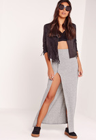 Missguided Zip Split Front Ribbed Maxi Skirt Grey