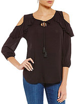 Westbound 3/4 Sleeve Ruffle Cold Shoulder Peasant Top