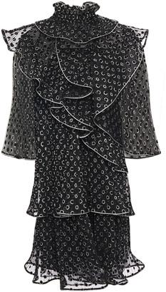 Alberta Ferretti Tiered Ruffled Glittered Flocked Tulle Mini Dress