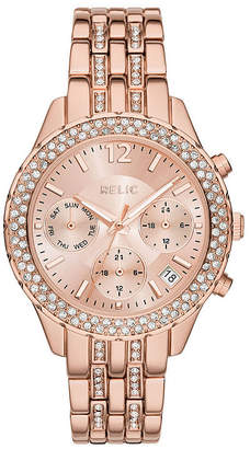 Fossil RELIC BY Relic By Merrit Womens Multi-Function Rose Goldtone Bracelet Watch-Zr15787