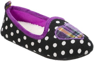 Dearfoams Kid's Polka Dot Loafer Slippers withPlaid Heart
