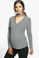 Boohoo Maternity Bella Choker Stripe Long Sleeve Top