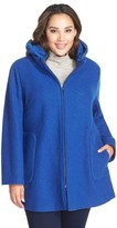Kristen Blake Plus Size Women's Hooded Boiled Wool Blend Swing Coat