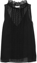 See by Chloe Embroidered Cotton-blend Tulle Top - Black