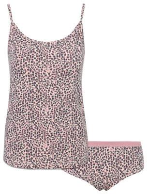 George Pink Leopard Print Short Pyjamas