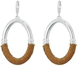 Lauren Ralph Lauren Raffia Link Drop Earrings (Brown) Earring