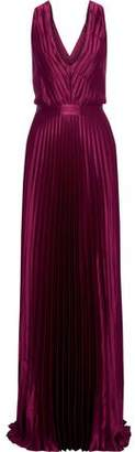 Zac Posen Arlyn Pleated Satin-crepe Gown